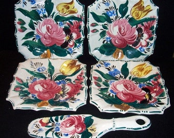 Vintage 5 pc Hand Painted Square Floral Cake Plates & Cake Server~Italy