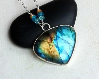 "Labradorite Necklace, Hessonite Garnet, Apatite, Sterling Silver - ""Nebula"" by CircesHouse on Etsy"