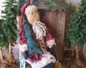 Primitive FolkArt Santa Art Doll with Wool Coat, Wired Bells Christmas Tree, & Gold Stars OFG HAFAIR FAAP