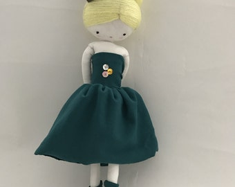 Handmade rag doll , Sophie- ooak cloth art rag doll green dress, crown and socks toys for girls made to order