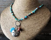 RESERVED For Jan Artisan Jewelry - Charm Necklace - Rustic Handcrafted - Southwestern Style - Urban Chic - Rare Stones Jewelry