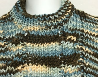 READY TO SHIP       Handmade Knit  Chunky Cable Sweater/Unisex Kids/Acrylic/Blue, Brown, Ivory     Size 4T