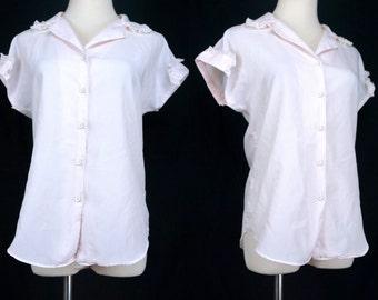 1960s Pink Pajama Top Shirt Lace Peter Pan Collar Button Short Sleeve Small Medium