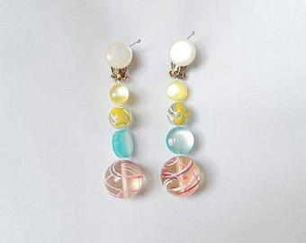 vintage earrings, 1950's, Japan, clip earrings, dangling, handpainted, gorgeous colors, vintage jewelry