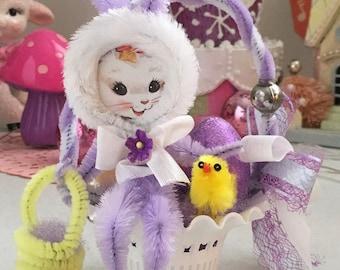 Vintage White Filigree  Favor Basket with Kitschy Plush Easter Bunny