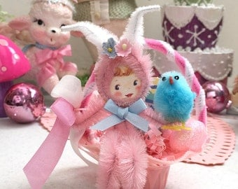 Vintage Pink Filigree  Favor Basket with Kitschy Plush Easter Bunny and Chenille chick