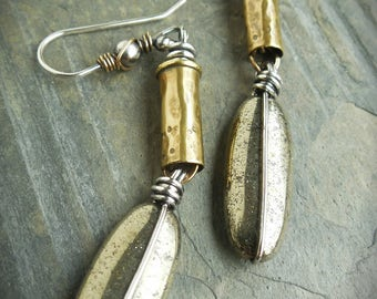 Golden Pyrite Bullet Shell Earrings Mixed Metal