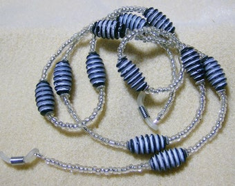 Handmade Eyeglass Lanyard- Vintage Blue & White Ribbed Beads by JewelryArtistry - L235