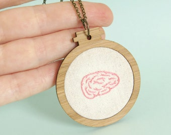 Brain Pendant Mini Embroidery