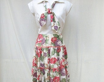 70s Tiered Skirt Dress size Small Medium Herman Marcus Floral Cotton Dress