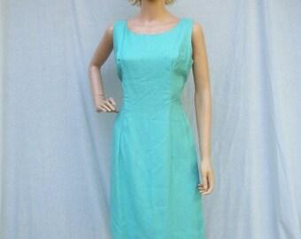 ON SALE 60s Robin Egg Blue Wiggle Dress and Coat Size Medium Large MADMEN