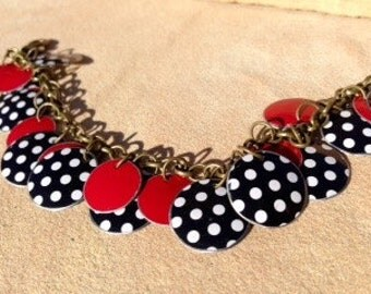 red black white, tin bracelet, polka dots, tin charm bracelet, recycled, repurposed, reused, kitschy, graphic, tin container, cookie tin