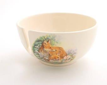 yarn bowl - crochet bowl - ceramic yarn bowl - small bowl  - knit bowl - mama fox and baby - vintage fox