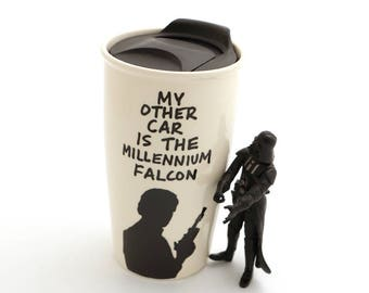 Father's day gift, large travel mug, gift for Dad, Geek Dad, sci fi lover, Star Wars fan, Millennium Falcon, DL
