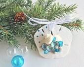 BEACH DECOR ORNAMENT, shell/sand dollar ornament No. 1, Christmas ornament, nautical ornament, coastal Christmas, beach wedding favor