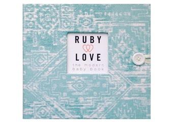 BABY BOOK | Aqua Sioux Tribal Baby Book | Ruby Love Modern Baby Memory Book