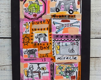 Collage, Children's Decor, Mixed Media, Folk Art,Outsider, Original Art,Framed