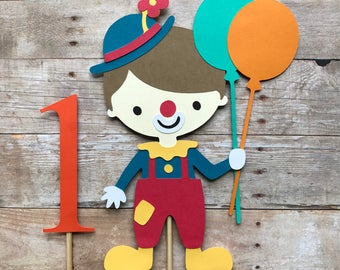 Clown Cake Topper- First Birthday, Carnival, Circus, Smash Cake