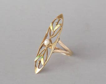 Antique Enameled Art Nouveau Ring. Conversion. 14k Gold with 10k Shank. Size 5.5