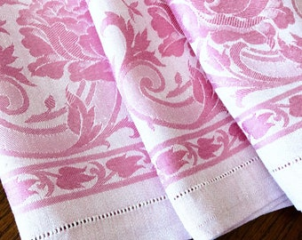 Antique Tablecloth Dusty Pink Double Damask 54 by 64