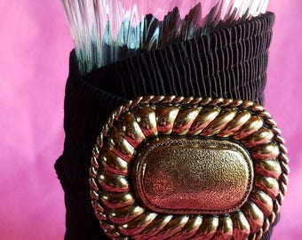 Vintage Black Elastic Wide Cinch Belt