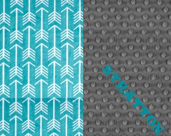 Personalized Baby Blanket, Teal Gray Arrow Minky Baby Blanket Girl or Boy - stroller Blanket - Nursery Decor // Arrow Blanket