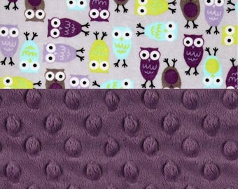 48 x 60 Minky Baby Blanket, Personalized Owls Violet Purple Gray Toddler Blanket