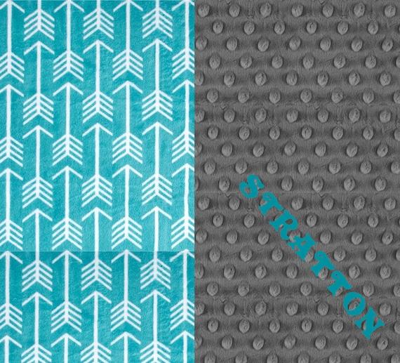 Personalized Blanket, Teal Gray Arrow Minky Baby Blanket // Girl or Boy Baby Blanket - stroller Blanket - Nursery Decor // Arrow Blanket