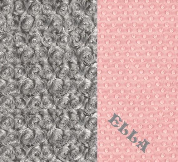 Gray Pink Baby Blanket Baby Girl, Minky Personalized Baby Blanket, Baby Gift, shower Baby Gift, Name Baby Blanket Receiving Blanket Handmade