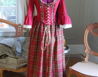 Christmas Holiday red Bonnie lass Victorian inspired peasant Plaid dress skirt bodice outlander inspired