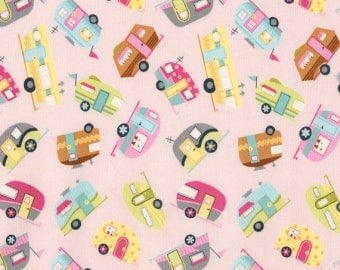 Timeless Treasures Pink TOSSED CAMPERS! Fabric By The Yard- C5417 New Print! RV's, Trailers