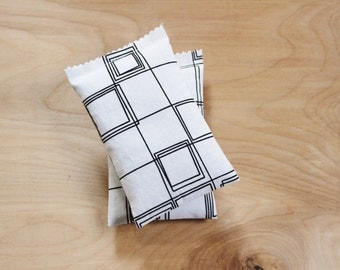 Organic Lavender Bags - Geometric Black & White Bedroom Decor - Moth Repellent Drawer Sachets