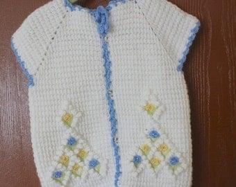 Holiday Sales 10% Off Handmade Blue Crochet Baby VEST//  Hand Crochet Baby Clothing / Hand Crochet Baby Cardigan // Ready to be shipped TODA