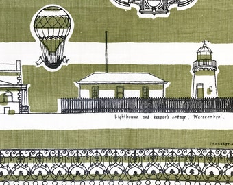 Vintage Tea Towel Historic Buildings National Trust Australia Miles Lewis Designer Illustrations
