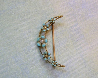 Antique 14K Gold and Enamel Art Nouveau Brooch Pin With Pearl, Antique Forget-Me-Not Pin, 14K Gold Brooch Pin (#3227)