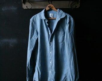 Vintage Mens Denim Jeans Shirt Medium Lands End 90s Grunge