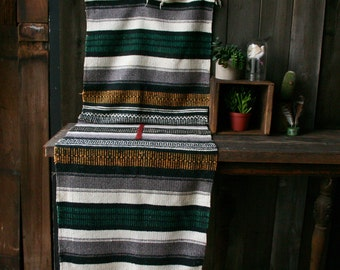 Vintage Woven Serape Blanket Large Poncho Bohemian Fashion or Decor Gray Gold Green Black Vintage From Nowvintage on Etsy