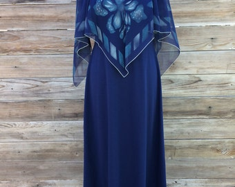1970's blue maxi dress with hand painted chiffon overlay SIZE: small/Medium