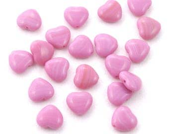 Opaque Pink Heart Czech Glass Beads 10mm - 20
