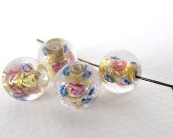 Vintage Lampwork Bead Crystal Clear Glass Gold Foil Pink Blue White Swirl Round 10mm to 11mm vgb1132 (4)