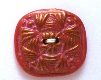 Large Button Handmade Polymer Clay Metallic Deep Pink 30mm
