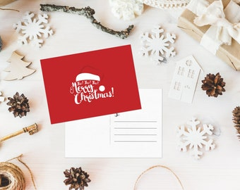 Ho! Ho! Ho! Merry Christmas Postcard - 5x7 Digital Download with 4 color options