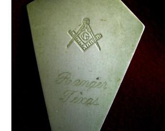 Vintage Masonic Trowel, Ranger, Texas, Free Masons