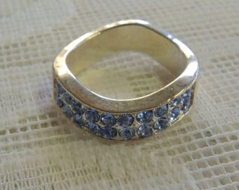 Vintage Silver Ring Unmarked, Blue Rhinestones,  Unusual Shape, Size 5 1/2, Probably Mid Century