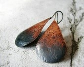 ON SALE 20% OFF Hammered copper earrings ombre oxidized sterling silver large teardrop shaped rustic modern - Ombre Tears