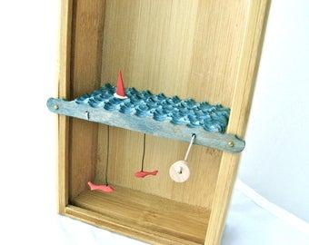 wooden boat automaton, nautical sculpture, fish decor, kinetic wood sculpture, man cave decor