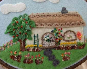 Hand Embroidered Cottage and Garden Wall Hanging