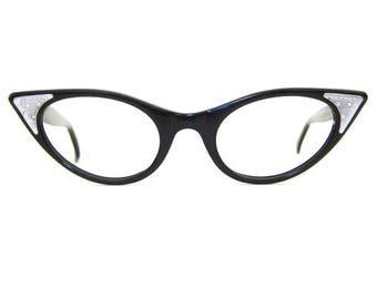 Vintage 50s Cat Eye Rhinestone Eyeglasses Sunglasses Frame  NOS