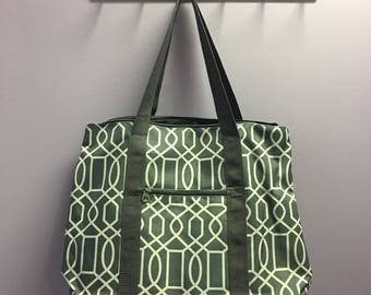 Personalized Grey Geometric Oversized Tote Bag