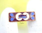 Pisces Vintage Copper Enamel Connector Zodiac Horoscope Bracelet Bar Pendant - 1